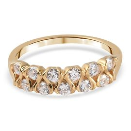 J Francis 14K Gold Overlay Sterling Silver Ring Made with SWAROVSKI ZIRCONIA 1.05 Ct.