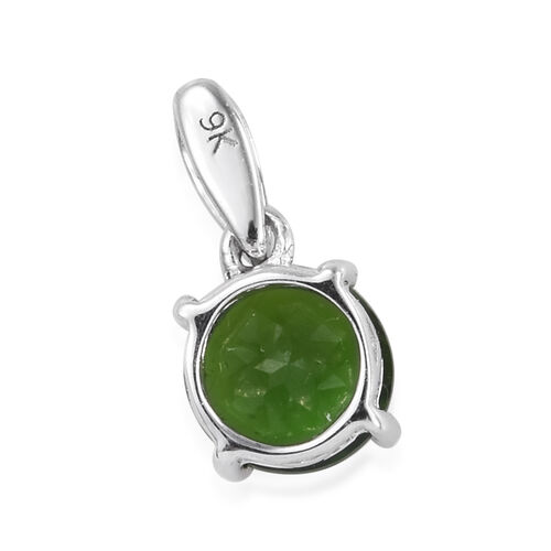 9K White Gold AAA Russian Diopside (Rnd) Pendant 0.850 Ct.