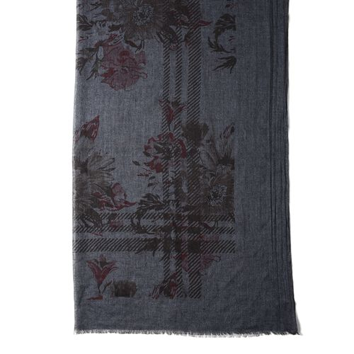 Black Colour Flower and Stripe Pattern Scarf (Size 200x90 Cm)