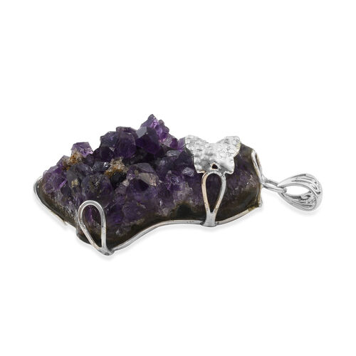 One Time Mega Deal-Amethyst Geode Pendant in Sterling Silver 105.000 Ct.