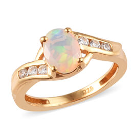 Ethiopian Welo Opal and Natural Cambodian Zircon Bypass Ring in 14K Gold Overlay Sterling Silver 0.9