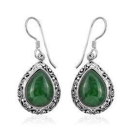 Royal Bali 20.31 Ct Green Jade Drop Earrings in Sterling Silver 7.8 Grams With Hook