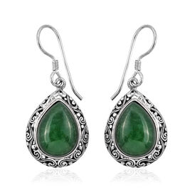 Royal Bali 20.31 Ct Green Jade Drop Earrings in Sterling Silver 7.8 Grams With Hook