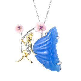 Blue Jade, Pink Mother of Pearl and Rhodolite Garnet Fairy Pendant With Chain (Size 18) in Rhodium a