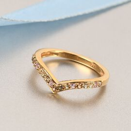 Rainbow Sapphire Wishbone Ring in 14K Gold Overlay Sterling Silver