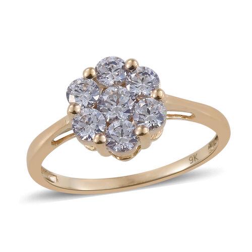 J Francis Made with Swarovski Zirconia Pressure Set Cluster Ring in 9K Gold 1.7 Grams
