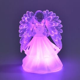 Xmas Decoration - Angel Playing Lyre Colour Changing Lamp (Size 15.5x10 Cm) - White (3xAAA Battery n