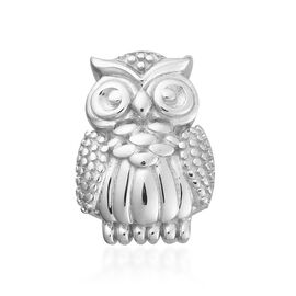 Platinum Overlay Sterling Silver Owl Charm, Silver wt 3.00 Gms