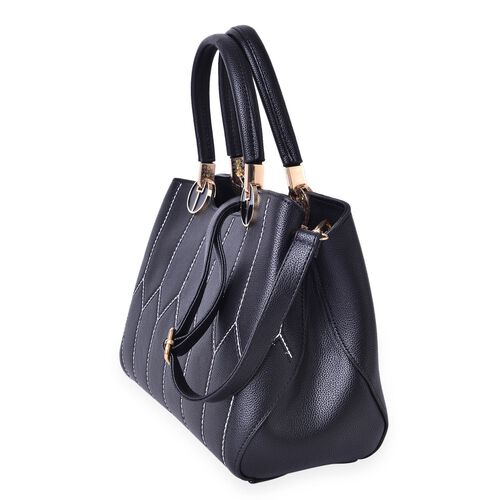 Black Colour Tote Bag with External Zipper Pocket and Removable Shoulder Strap (Size 28x20x13 Cm)