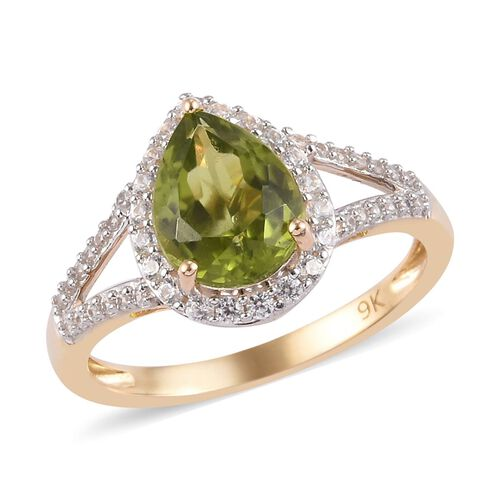 9K Yellow Gold Hebei Peridot, Natural Cambodian Zircon Ring 2.50 Ct.