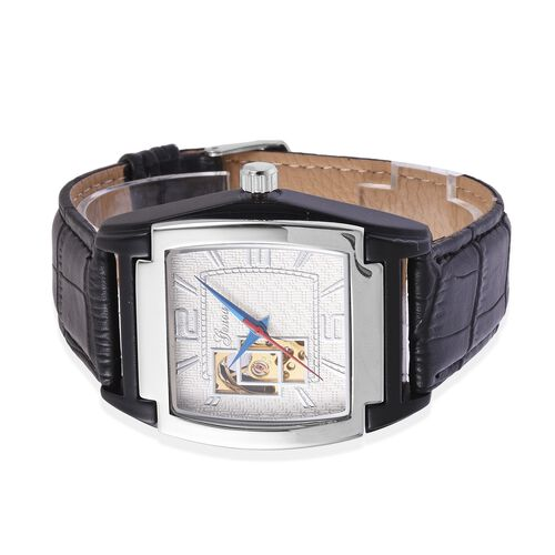GENOA Automatic Mechanical Movement White Dial Water Resistant Watch in Silver Tone with Black Strap