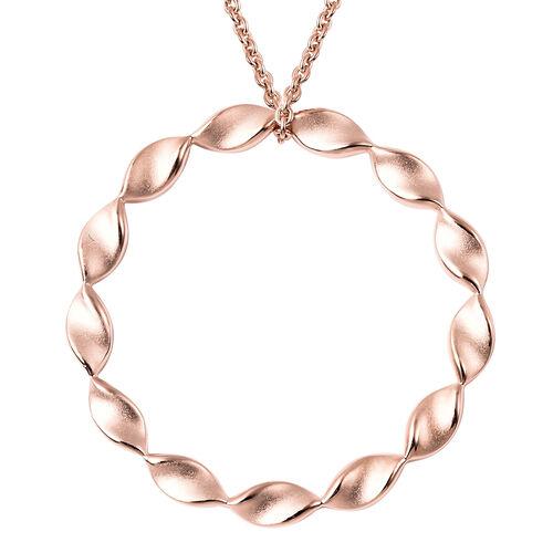 RACHEL GALLEY Rose Gold Overlay Sterling Silver Sandblast Texture Twist Circle Design Pendant with C