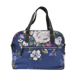 Floral Print Handbag with Zipper Closure (Size 25x31x12cm) - Navy and White
