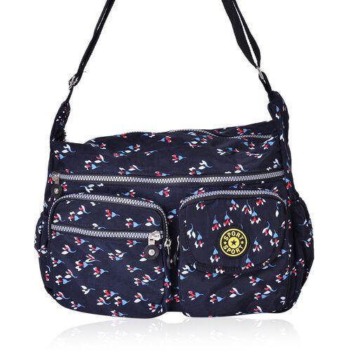 Blue, Pink and Multi Colour Floral Pattern Multi Pocket Waterproof Sport Bag with Adjustable Shoulder Strap (Size 32X27X11.5 Cm)