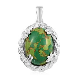 10 Ct Mojave Green Turquoise Solitaire Pendant in Sterling Silver