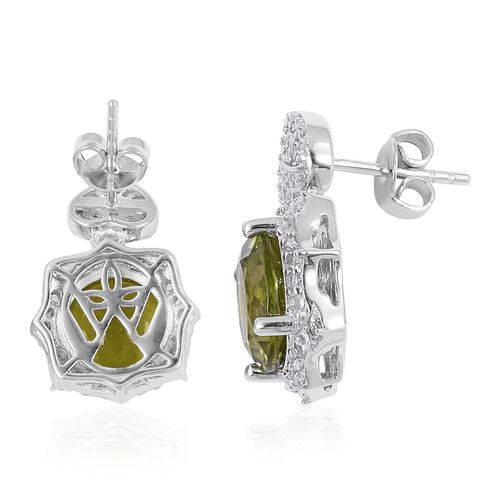 Signature Collection-Hebei Peridot (Rnd), Natural White Cambodian Zircon Earrings (with Push Back) in Rhodium Overlay Sterling Silver 9.510 Ct.