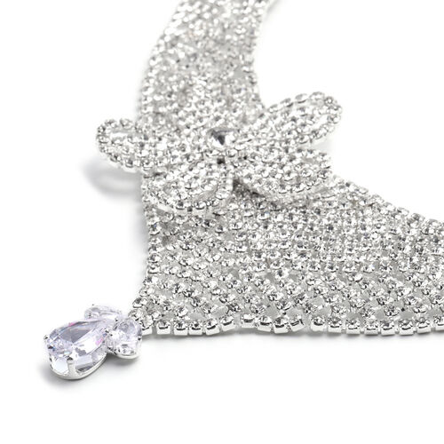 Christmas Gift Idea - 2 Piece Set White Austrian Crystal and Simulated Diamond Earrings (with Push Back) and Necklace (Size 22 with 2 Inch Extender) in Silver Tone - Butterfly