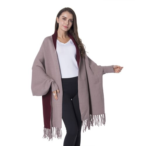 Designer Inspired Brown and Red Colour Cardi Coat Size 94x45.5 Cmx10 Cm