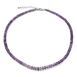 Natural Rare Purple Fluorite Necklace (Size 18 with 2 inch Extender) in Platinum Overlay Sterling Si