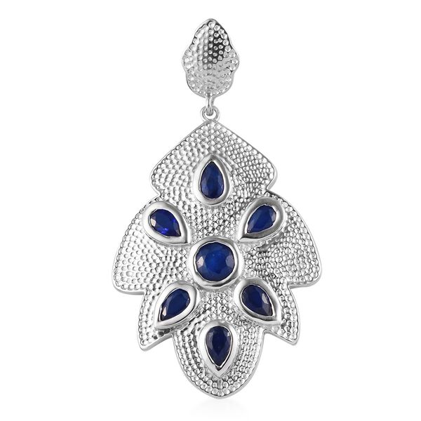 Tanzanian Blue Spinel Pendant in Platinum Overlay Sterling Silver 1.75 Ct, Silver wt. 5.50 Gms