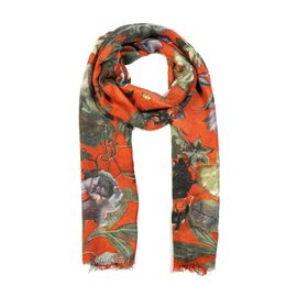 100% Merino Wool Floral Pattern Scarf (Size 70x180 Cm) - Orange