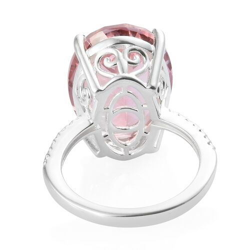 TJC Launch Rose Spinel Quartz (Ovl 18x13 mm) Ring in Sterling Silver 11 Ct.