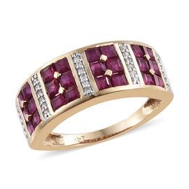 Close Out Deal 14K Yellow Gold AAA Burmese Ruby (Princess), Diamond Ring 1.650 Ct.Gold Wt 3.50 Gms