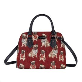 SIGNARE - Tapestry Pug Convertible Shoulder Bag with Removable Strap ( 36 x 23 x 12.5 Cms)