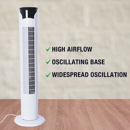 Tower Fan with Remote Control, Temperature LED Display, Twelve Hour Timer and Three Wind Speed Setti