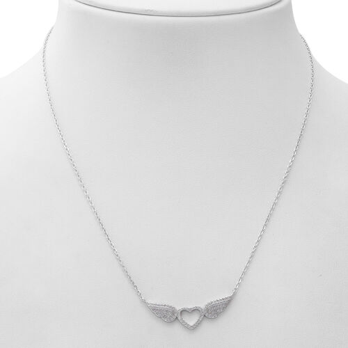 ELANZA Simulated Diamond (Rnd) Necklace (Size 17.5 with 1 inch Extender) in Rhodium Overlay Sterling Silver