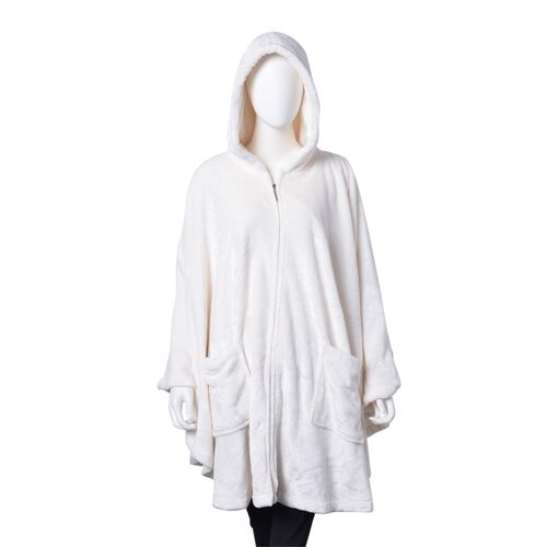 Designer Inspired-Off White Colour Flannel Wrap with Hood and Zipper Front (Free Size) and Pair of Slipper (Size 9)
