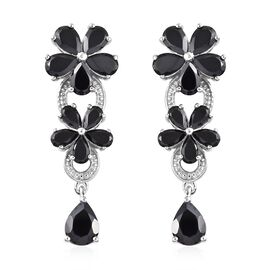 11 Carat Boi Ploi Black Spinel Floral Earrings with Push Back in Platinum Plated Silver 6.27 Grams
