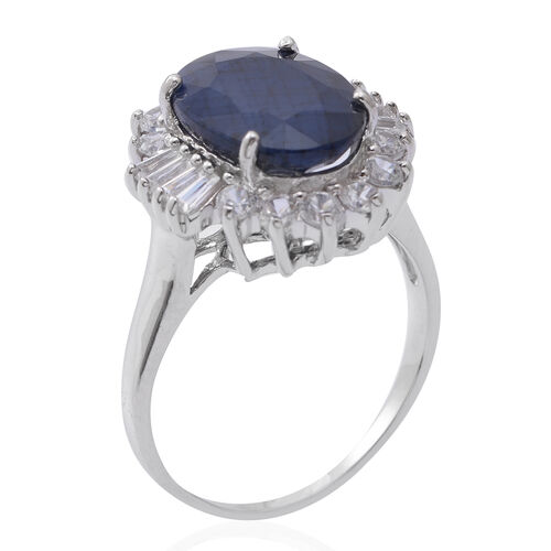 Very Rare Size Madagascar Blue Sapphire (Ovl 14x10 mm), Natural White Cambodian Zircon Ring in Rhodium Overlay Sterling Silver 9.000 Ct.