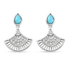 Arizona Sleeping Beauty Turquoise and Natural Cambodian Zircon  Dangling Earrings (with Push Back) i