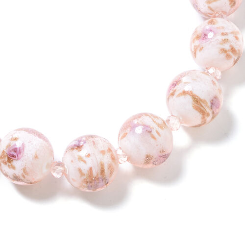 Pink Murano Style Glass (Rnd) Beads Necklace (Size 22) in Silver Tone