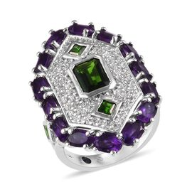 GP 5 Carat Russian Diopside and Multi Gemstone Cluster Ring in Platinum Plated Silver