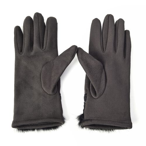 Solid Colour Women Winter Gloves with Pleated Embellishment and Faux Fur on the Wrist (Size 8.9x22.9 Cm) - Dark Grey