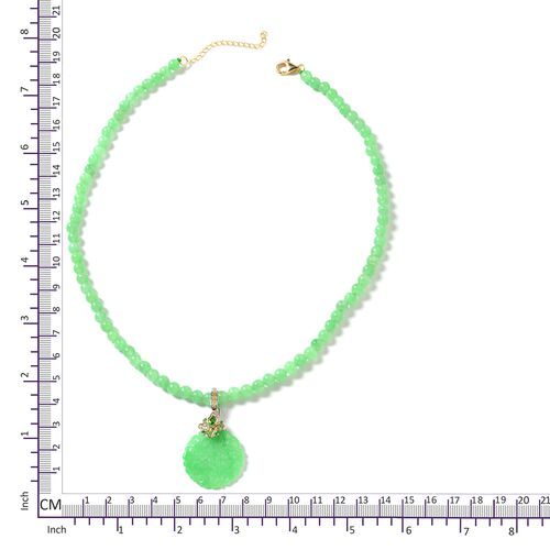 Green Jade (Rnd), Russian Diopsode Necklace with Pendant (Size 18) in Rhodium and Yellow Gold Plating Sterling Silver 156.920 Ct.