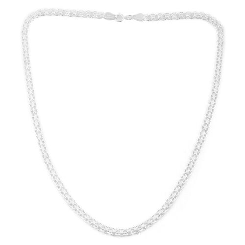 Vicenza Collection Sterling Silver Double Row Bismark Chain (Size 20), Silver wt. 9.20 Gms.