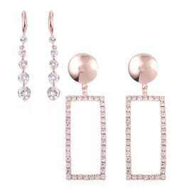 Set of 2 - Simulated Diamond (Rnd), White Austrian Crystal Earrings in Rose Gold Tone