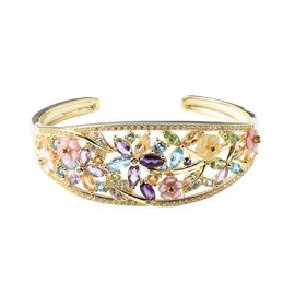 Jardin Collection - Pink, Yellow and White Mother of Pearl, Amethyst and Multi Gemstone Floral Cuff