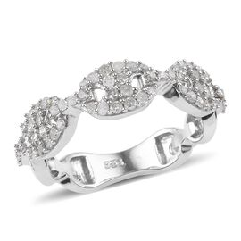 0.50 Ct Diamond Band Ring in Platinum Plated Sterling Silver