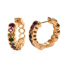 GP- Precious Eternity Collection- African Ruby, Blue Sapphire and Multi Gemstone Hoop Earrings (with