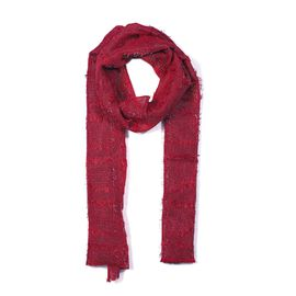Close Out Deal- Metallic Fibre Scarf (Size 50x165 Cm) - Red