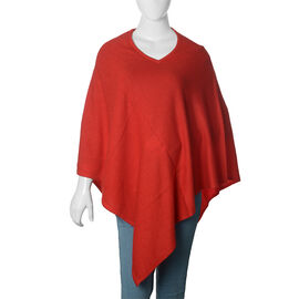 Limited Available - 100% Pashmina Cashmere Wool Red Colour Poncho (Free Size)