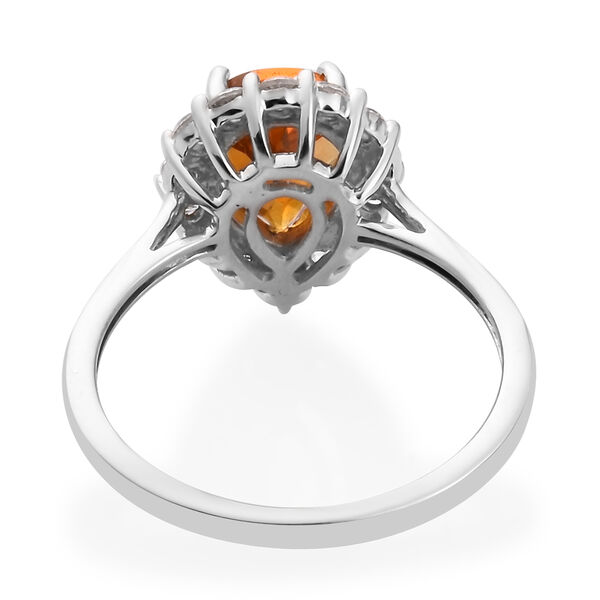 9K White Gold Citrine and Natural Cambodian Zircon Ring 1.75 Ct.