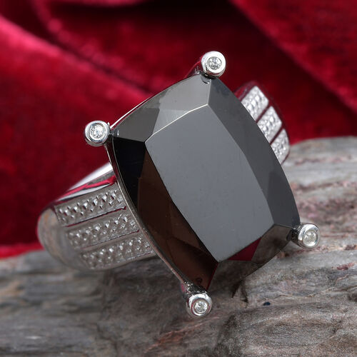 Elite Shungite (Cush 16x12 mm), Natural Cambodian Zircon Ring in Platinum Overlay Sterling Silver 6.58 Ct.