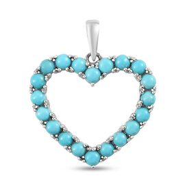Sleeping Beauty Turquoise Heart Pendant in Platinum Overlay Sterling Silver 1.00 ct  1.000  Ct.