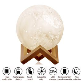 3D Moon Lamp with Wooden Stand with Touch Control and Three-Colour Light Change (Size 15cm)