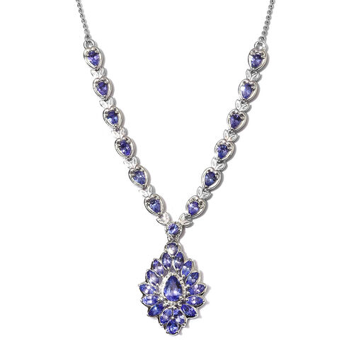 Limited Edition - AAA Tanzanite Necklace (Size 18) in Platinum Overlay Sterling Silver 5.00 Ct, Silv